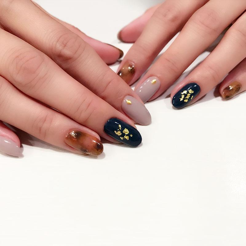 戸塚の美容院ITAL ネイル紹介 Tortoiseshell-Nails